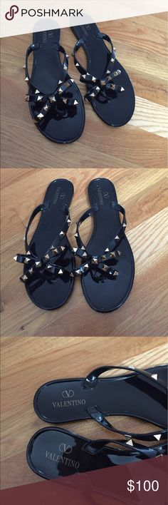 Black Stud Jelly Sandals Sandals are new and Super comfortable... Great quality! Price reflects authenticity...Dusty Rose/Nude also available on my page. Valentino Shoes Sandals