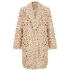 Iris Shaggy Faux Fur Boyfriend Coat ❤ liked on Polyvore featuring outerwear, coats, jackets, warm jacket, faux fur coat, imitation fur coats, beige coat, fake fur coat and boyfriend coats