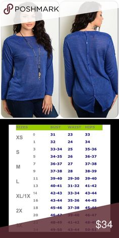 Plus Size Blue Sweater This very pretty long sleeve sweater features a crochet front panel detail and back buttons. Light knit material. 95% Polyester 5% Spandex (This closet does not trade) Boutique Sweaters Crew & Scoop Necks