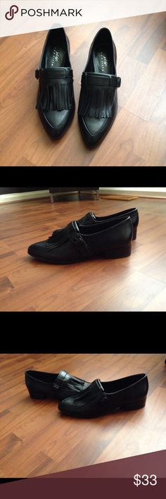 Brand New Leather Flap Shoes NIB Leather Shoes with Flap and Buckle; Slip-on; Style these with a cute dress or skirt or to the office with trousers or on the weekend with jeans! 424 Fifth for Lord & Taylor Shoes Flats & Loafers
