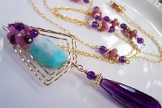 Amethyst Art Deco Lavaliere with Tourmaline by Beadmatrix on Etsy