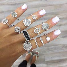 Gemstone Smart Saphir Et Diamant 3 Tier Bague Grappe Matching In Colour
