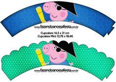 Saias Wrappers para Cupcakes George Pig Pirata: