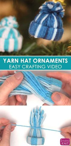 Yarn Hat Holiday Ornaments: Free Easy Craft Video Tutorial with Studio Knit #christmas #yarn #ornament