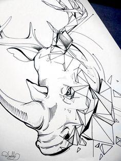 illustration by #dushky   #art #illustration #drawing #tattoo #design #animal #geometric #rhyno #deer
