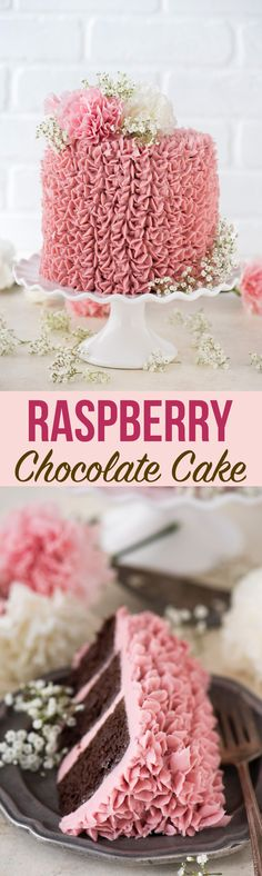 Made from scratch raspberry chocolate cake! Features 3 layers of classic chocolate cake with a raspberry jam buttercream. #layeredcake #raspberrycake #raspberrychocolatecake #raspberrybuttercream