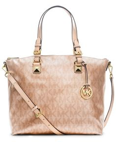 MICHAEL Michael Kors Handbag, Signature Metallic Satchel - Handbags & Accessories - Macy's