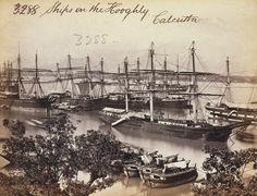 Ships on the Hooghly River, Calcutta (Kolkata) - Mid Century India Poster, Colonial India, Old Sailing Ships, Fort William, Antique Maps, Tall Ships, Kolkata, Old Photos, Trinidad