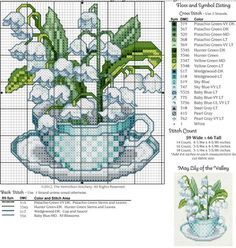 #5 May Teacup, Lily of the Valley Free Cross Stitch Pattern: