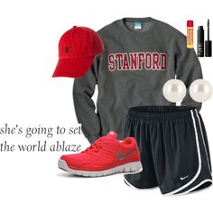 """""""You Don't Know Who You Are"""" by musicprincess98 on Polyvore college sweatshirt nike tempo shorts baseball cap ted grey black pearls sneakers"""