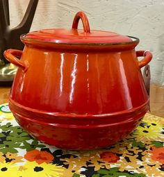"""Descoware Flame Colored Enamel on Cast Iron Bean Pot 1960's - 70's From Belgium 8"""" $115 Welcome Back 56 Taking you back to the fifty's in our booth at Lula B's Oak Cliff, booth #56. Lula B's in the OC! 1982 Ft. Worth Ave."""