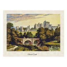 Postcard with a digitally cleaned and enhanced vintage illustration of Alnwick Castle in Northumberland, England by Francis Orpen Morris from 1870. Castle Illustration, Alnwick Castle, Northumberland England, Castles In England, Postcard Size, Vintage Postcards, Vintage Prints, Landscape, Painting