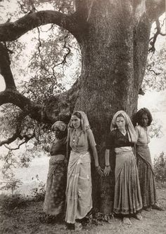 Pamela Singh, Chipko Women Hug Tree to Protect it from Being Cut in Northern Uttar Pradesh