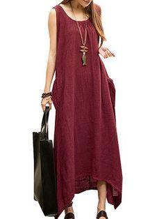 Vintage Casual Women Sleeveless High Low Cotton Linen Maxi Dress //Price: $35.18 & FREE Shipping //     #women watch  #Legging  #Jewelry  #Dresses  #Ring  #Yoga Pants