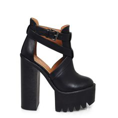 Women's Footwear, Handbags and Accessories | Shop online | La Moda |... (920 ARS) ❤ liked on Polyvore featuring shoes, boots, ankle booties, heels, platform boots, chunky black boots, studded boots, cut out heel boots and black heeled boots