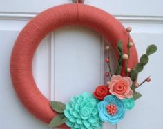 Coral Yarn Wreath, Mint, Aqua, Coral, and Peach Felt Flowers