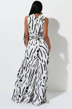 AKIRA Label Patterned Wide Leg Jumpsuit with Attached Belt in Black and White Latest African Fashion Dresses, African Print Fashion, African Attire, African Dress, Mode Kimono, African Blouses, Jumpsuits For Women, Couture, Dress Patterns