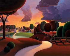 Mornings Misty Veil - Paul Corfield (Giclee on Canvas Board) - - Mornings Misty Veil Paul Corfield Giclee On Canvas Board - Prints & Artwork Contemporary Abstract Art, Modern Art, Landscape Art, Landscape Paintings, Naive Art, Art For Art Sake, Whimsical Art, Unique Art, Folk Art