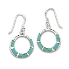 Sterling Silver Circle Turquoise Block Dangle Earrings