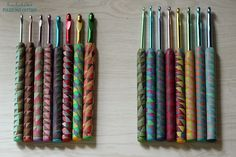 Polymer clay covered crochet hooks by lisaclarke