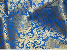 Cobalt Blue Silk Brocade Fabric, Wedding dress Fabric, Banaras Brocade Fabric, Indian Silk, Blended silk Fabric Brocade Fabric by the Yard