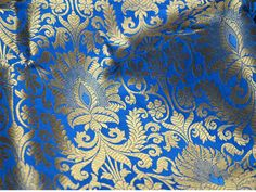 Cobalt Blue Silk Brocade Fabric, Wedding dress Fabric, Banaras Brocade Fabric, Indian Silk,  Blended silk Fabric Brocade Fabric by the Yard