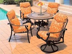 Suncoast Rendezvous Cushion Patio Cast Aluminum Dining Set by Suncoast. $3699.50. Suncoast Suncoast Rendezvous Cushion Patio Cast Aluminum Dining Set is part of the Suncoast Rendezvous Cushion collection and made from cast aluminum material.Quality Platinum BondTM Finish Frames are prepared using exclusive Platinum BondTM finish process consisting of two coatings of polyester powder. This finish will not rust or peel, is three times thicker than paint and more durable. C... Patio Furniture Sets, Tear, Dining Set, Lawn And Garden, Rust, Porch, Frames, Sweet Home, Powder