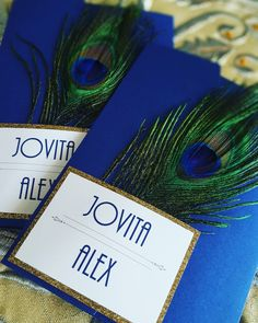 Peacock Wedding Invitations & RSVP Cards |  #etsy #feather #gatsby #gold #idobliss #invitations #invites #peacock #peacockblue #pocketfold #rsvpcards #wedding |