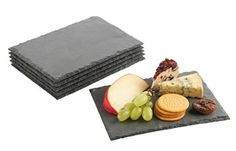 VonShef Set of 6 Mini Slate Cheese Boards for Dinner Parties and Entertaining