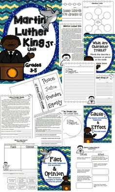 Martin Luther King Jr. Unit (Grades 3-5) Lots of writing prompts/activities, Cause & Effect, Fact & Opinion, and more….