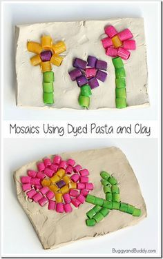 Pasta Mosaic Kids Activities - This is such a fun, clever activity for kids of all ages. Makes a great keepsake, fathers day gift, or mothers day gift!