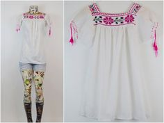 70s vtg HIPPIE mexican embroidered BOHO peasant by riseintothesun, $24.00