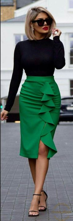 fashion trends / black high neck top + green pencil skirt + heels
