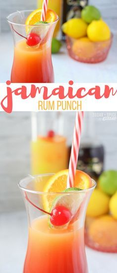 Jamaican Rum Punch - a delicious tropical cocktail perfect for bringing a bit of sun into your day, no matter what time it is. It looks like a beautiful sunset in a glass and tastes amazing party drink Jamaican Rum Punch Summer Cocktails, Cocktail Drinks, Cocktail Recipes, Cocktail Ideas, Bourbon Drinks, Alcohol Drink Recipes, Fun Drinks Alcohol, Juice Recipes, Refreshing Drinks