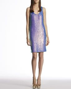 Hello Gucci... You are precious! Blue Violet Silk Georgette Sequin Sleeveless Dress