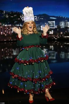 christmas costumes women Merry and bright: Melissa McCarthy dressed up as a Christmas tree in a green dress decked out with tinsel and baubles as the stand in host on Jimmy Kimmel Live! on Thursday Christmas Tree Dress, Diy Ugly Christmas Sweater, Christmas Party Outfits, Ugly Sweater Party, Christmas Fun, Christmas Decorations, Christmas Clothes, Christmas Scenes, Christmas Character Costumes