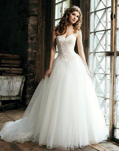 Style 3656: Satin ball gown accentuated with a sweetheart neckline | Sincerity Bridal