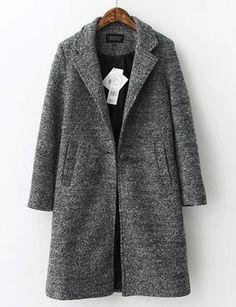 #fashion #accessories Elegant Simplicity Lapel Midi Wool Coat in Belt Trim   Dark Gray by Moda Tendone - WoolCoat Clothes, Dark Gray, Fashionable, Women, WoolCoat