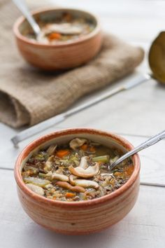 Wild Rice and Mushroom #Soup from A Thought For Food - #recipe #vegetarian #glutenfree