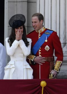June 11, 2011: Prince William and Kate at the Trooping of the Colour. Kate wearing a McQueen coat at Trooping of the Colour.