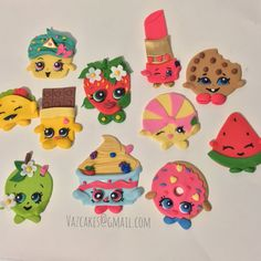 Shopkins inspired Fondant Cupcake toppers by Vazcakes on Etsy