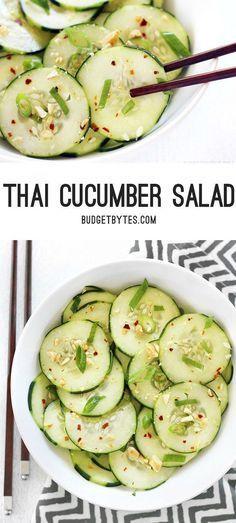 Cucumber Salad Thai Cucumber Salad is a light and fresh summer salad with bold Thai flavors.Thai Cucumber Salad is a light and fresh summer salad with bold Thai flavors. Thai Cucumber Salad, Cucumber Recipes, Thai Salads, Fruit Salad, Cucumber Ideas, Thai Salad Dressings, Easy Cucumber Salad, Cucumber Yogurt, Healthy Snacks