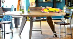 Round Reclaimed Oak Dining Table