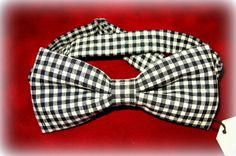 Black and white plaid bow tie, Men bowtie, Pretied double layered bow tie, Adjustable bowtie. Wedding, prom, groom bowtie by GalleryBeNa on Etsy