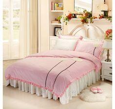 Pink Dandelion Floral Girls Ruffle Velvet Bedding