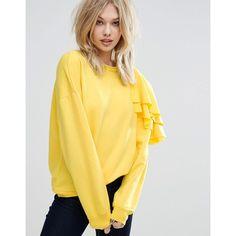 Mango Frill Detail Sweatshirt (€43) ❤ liked on Polyvore featuring tops, hoodies, sweatshirts, yellow, ruffle sleeve top, flounce tops, crewneck sweatshirt, cotton sweatshirts and flutter sleeve top