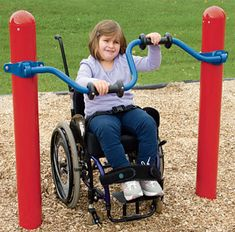 Accessible Stationary Cycler by Landscape Structures lets kids of all abilities get an upper-body workout while they play on the playground!