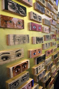 the eye project (side)    .    A North Park University community art project. Participants made images of fellow North Park students (or in a couple cases, faculty). 67 blocks total, mounted on a gold-leafed circle.