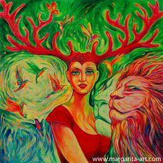 Acrylmalerei - GEMÄLDE MAGIC FOREST Bild Margarita Pop Art - ein Kunstwerk von Margarita Kriebitzsch www.margarita-art.com  #birds #surreal #woman #Popart #colibri #deer #animals #dress #fantasy #female #lion #animals