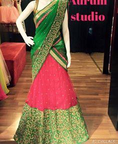 Wedding dress. See more at Pinterest #@snapchamp Half Saree Designs, Fancy Blouse Designs, Bridal Blouse Designs, Lehenga Designs, Saree Blouse Designs, Dress Designs, Half Saree Lehenga, Sari, Saree Dress